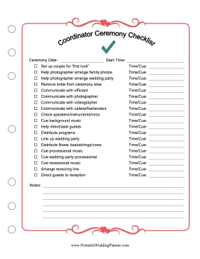 Wedding Coordinator Ceremony Checklist