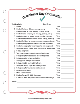 Wedding Coordinator Day Of Checklist