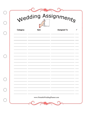 Wedding Planner Assignments