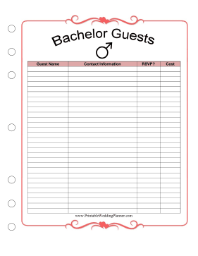 Wedding Planner Bachelor Guests