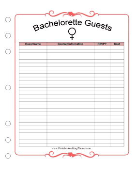 Wedding Planner Bachelorette Guests