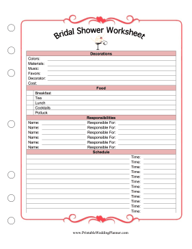 bridal shower worksheet. Black Bedroom Furniture Sets. Home Design Ideas