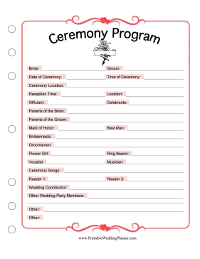 Printables Wedding Planning Worksheets wedding planner ceremony program