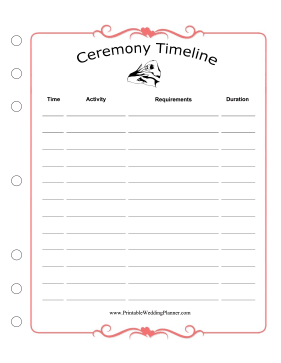 Wedding Planner Ceremony Timeline