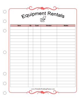 Wedding Planner Equipment Rental