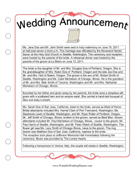 Newspaper Wedding Announcement Sample