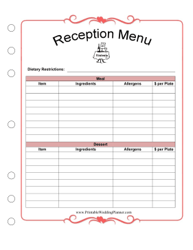 Wedding Planner Reception Menu