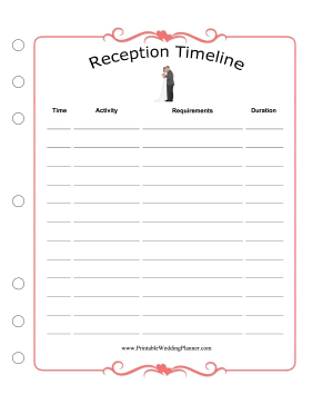 Wedding Planner Reception Timeline