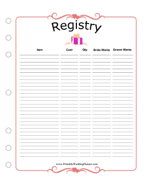 Wedding Planner Registry