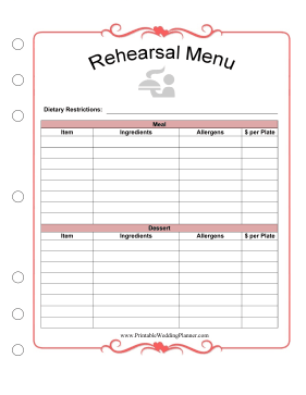 Wedding Planner Rehearsal Menu