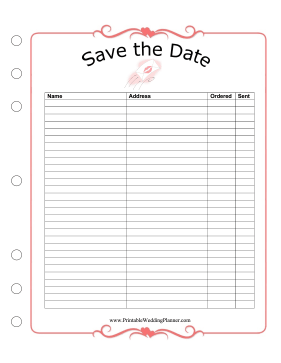 Wedding Planner Save The Date