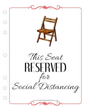 Wedding Planner Seat Reserved Social Distancing