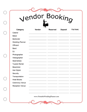 Wedding Planner Vendor Booking